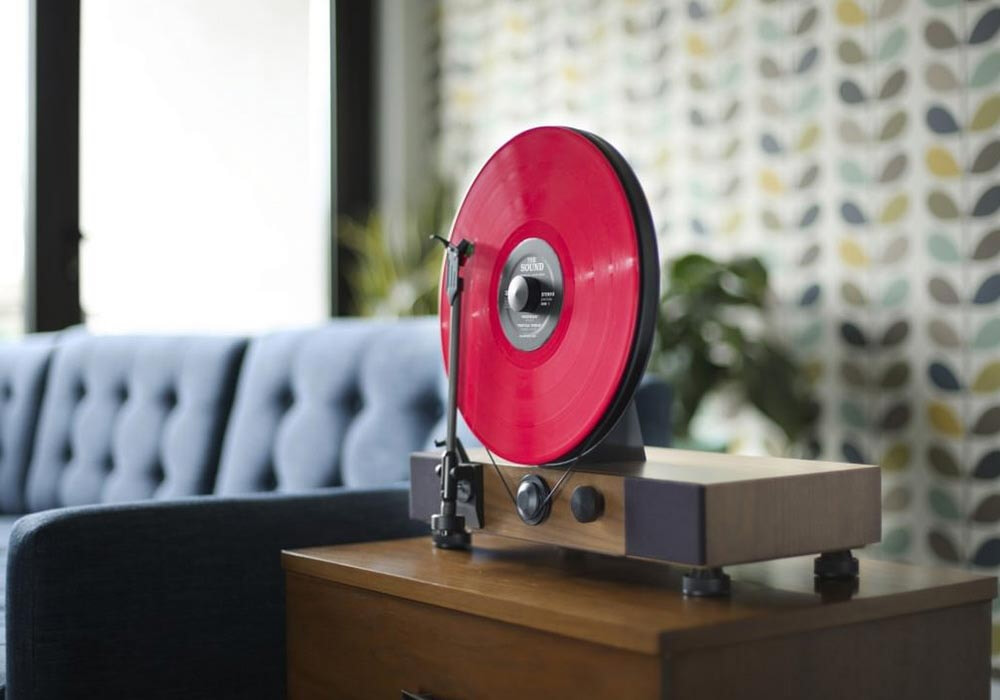 Gramovox noyer disc rouge 3
