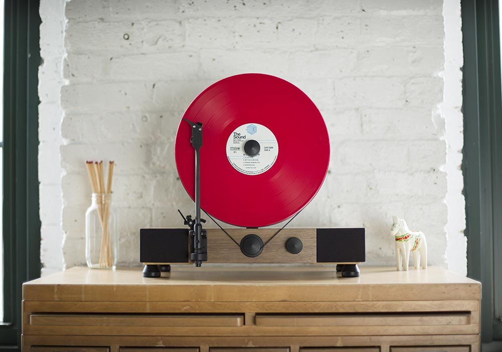 Gramovox noyer disc rouge